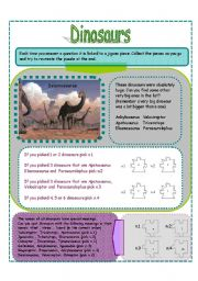 English Worksheets: DINOSAURS PART 3 (3 pages)