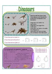 English Worksheets: DINOSAURS SET 4 (3 pages)