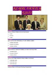 English Worksheet: Royal Family Quiz