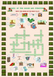 PARTS OF THE HOUSE AND FURNITURE CROSSWORD