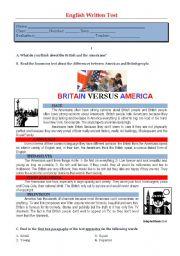 English Worksheet: Test - Britain vs America