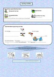 English Worksheet: sporting activities