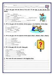English Worksheet: GRAMMAR TEST / WORKSHEET(3 pages)