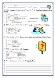 GRAMMAR TEST / WORKSHEET(3 pages)