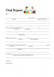 English Worksheets: Advanced Level Oral Report