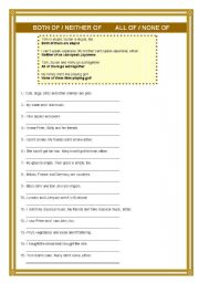 English Worksheets: ALL/NONE     BOTH/NEITHER