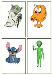 English Worksheets: Alien Memory Cards AGAIN (the whole set) Use them with my Galactic Grammar game.
