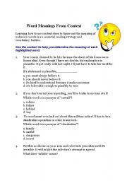 English Worksheets: Word meaning from context.