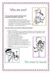 English Worksheets: Who are you?