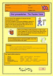 English Worksheet: Passive Voice Oral Presentation
