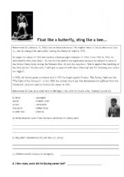 English Worksheet: Float like a butterfly, sting like a bee... The Muhamad Ali Story