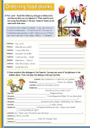 English Worksheets: At the restaurant - Ordering Food/ Drinks Upper Elementary or Lower Intermediate students