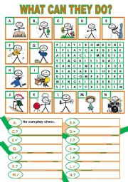 English Worksheet: ABILITIES (CAN)
