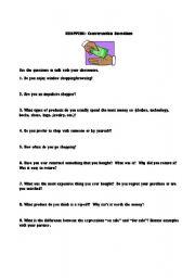 English Worksheet: Shopping: Conversation Questions