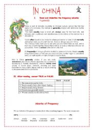 English Worksheet: Frequency adverbs- ��In China ��