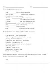 English Worksheet: Subject + verb agreement, possessives quiz