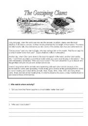 English Worksheets: The Gossiping Clams