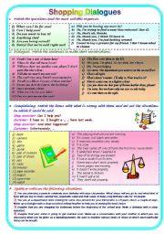 English Worksheets: Shopping Dialogues