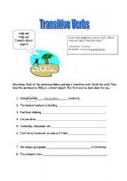 English Worksheet: Beginner Transitive Verbs