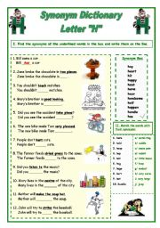 English Worksheet: Synonym Dictionary, Letter