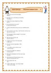 English Worksheet: Transformation of sentences