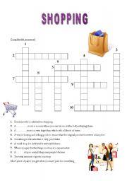 english worksheets shopping crossword. Black Bedroom Furniture Sets. Home Design Ideas