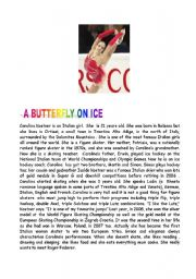 English Worksheets: A butterfly on ice