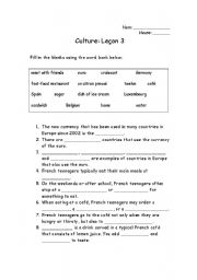 English teaching worksheets: Culture and traditions