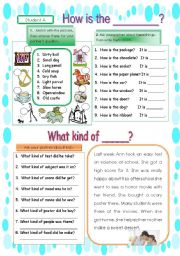 English Worksheets: Pair work conversation using adjectives1