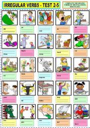 English Worksheet: IRREGULAR VERBS TEST 2-5