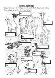 English Worksheets: Animal spellings