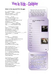 English Worksheet: Viva la Vida - Coldplay