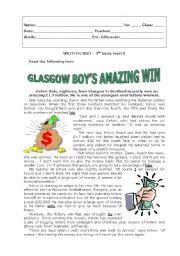 English Worksheet: Glasgow boy�s amazing win