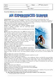 English Worksheet: An experienced surfer