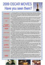 English Worksheets: 2009 OSCAR MOVIES (Synopsis with exercises + keys)