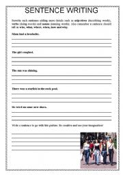 English Worksheets: Sentence Writing 2