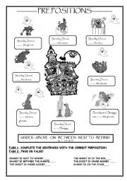 English Worksheets: Practice PREPOSITIONS with SCOOBY DOO