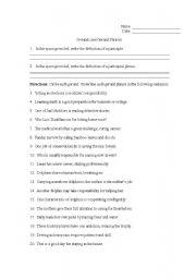 Quiz &amp- Worksheet - Gerund, Participial, &amp- Prepositional Phrases ...
