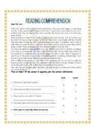 English Worksheet: Used to (reading)
