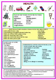 English Worksheet: health (vocabulary and discussion)