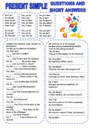 English Worksheet: PRESENT SIMPLE (2) QUESTIONS AND SHORT ANSWERS