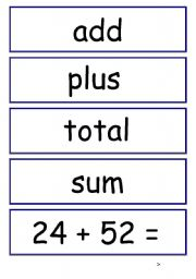 English Worksheets: Addition and Substraction Display cards