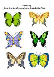 English Worksheets: Symmetrical butterflies