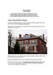 English Worksheets: Barack Obama_Reading Exercise