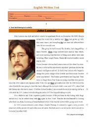 English Worksheets: Test - John Lennon