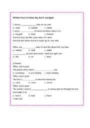 English worksheet: When you´re gone!