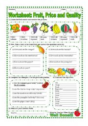 English Worksheet: Worksheet: Fruit, Price and Quality