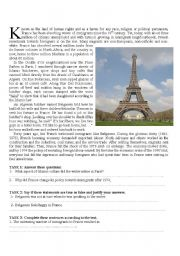 English Worksheet: France and its immigrants