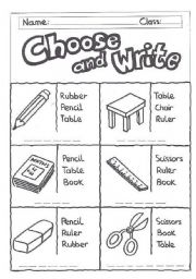English Worksheet: Choose and write -classroom objects