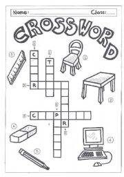 English Worksheet: Crossword-classroom objects